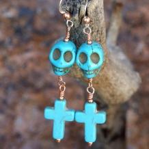 CALVARIAM ET CRUCEM - Halloween Day of the Dead Skull Crosses Handmade Earrings, Turquoise Magnesite