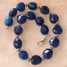 PIECES OF THE NIGHT SKY - Blue Quartz Chunky Sterling Silver Handmade Necklace