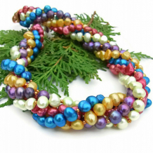 CARNIVALE - Colorful Torsade Handmade Pearl Necklace, Multi Strand Beaded Jewelry
