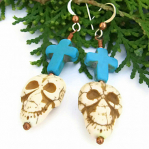 HOLY MOLY! - Skull Crosses Handmade Earrings, Day of the Dead Magnesite Unique