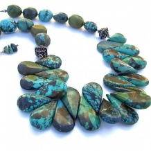 SOUTHWEST MEMORIES - Chunky Turquoise Handmade Necklace, Bali Sterling Southwest Jewelry