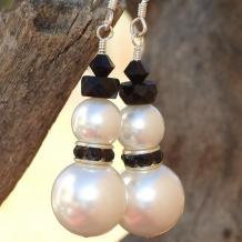 BLACK TIE SNOWMEN - Christmas Snowman Swarovski Crystal Pearl Earrings, Handmade