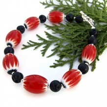 MELTDOWN - Red Chevron Beads Black Lava Handmade Bracelet, OOAK Beaded Jewelry