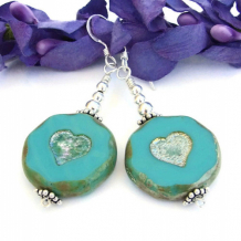 MIS CORAZONES - Hearts Turquoise Czech Glass Earrings, Handmade Sterling Beaded Jewelry