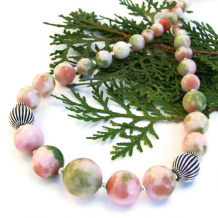 PRINTEMPS - Pink Green Candy Jade Jewelry Necklace, Handmade Spring Summer Gemstone