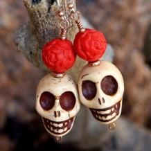 SKULLS AND ROSES - Magnesite Skull Day of the Dead Handmade Earrings, Cinnabar Rose