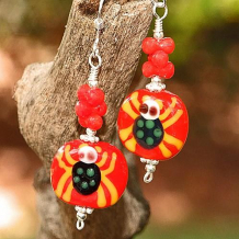 ITSY BITSY SPIDERS - Halloween Spider Lampwork Red Coral Earrings, Handmade