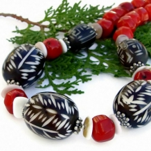 TRIBAL DANCE - Carved African Bone Handmade Tribal Necklace, Red Coral Chunky Jewelry