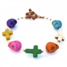 SKULLS AND CROSSES - Skull Crosses Halloween Bracelet, Handmade Dia de los Muertos Jewelry