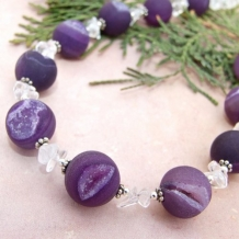 PASSIONATELY PURPLE - Druzy Necklace Purple Agate Quartz Gemstone Handmade Bead Jewelry