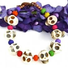 SKULL FIESTA - Skull Bracelet, Handmade Dia de los Muertos Jewelry Magnesite Colorful