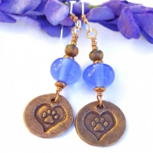 RESCUE ME - Dog Paws Hearts Copper Handmade Earrings Blue Lampwork Rescue