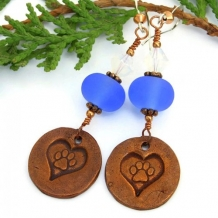 LOVE MY RESCUE - Dog Rescue Earrings, Handmade Copper Paw Prints Blue Lampwork