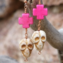 Skull and Crosses Day of the Dead Handmade Earrings, Halloween Artisan Jewelry