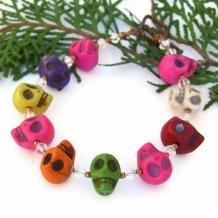 HAPPY SKULL FIESTA - Halloween Skull Bracelet, Day of the Dead Swarovski Handmade Jewelry