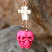 SCARY IN PINK! - Halloween Day of the Dead Skulls Crosses Handmade Earrings, Magnesite