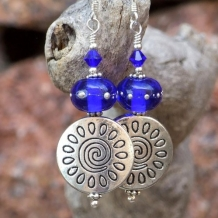 BLUE HEAVEN - Pewter Spirals Handmade Earrings, Cobalt Lampwork Unique Beaded Jewelry
