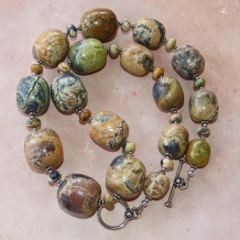 ON THE SERENGETI - Yellow Turquoise Jasper Handmade Gemstone Necklace