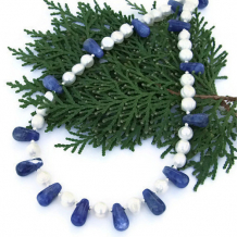 PARTLY CLOUDY - Blue Sodalite Pearls Handmade Necklace Teardrops Gemstone Jewelry