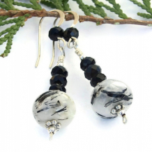 BLACK MAGIC - Gemstone Earrings, Tourmalated Quartz Onyx Sterling Handmade Dangles