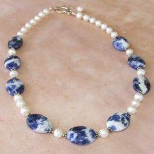 BLUE JAY WAY - Blue Sodalite Faceted Pearls Sterling Handmade  Necklace