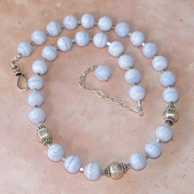 BLUE FROST - Blue Lace Agate Thai Silver Sterling Handmade Necklace