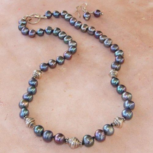 NOCTURNE - Peacock Pearls Classic Hand Knotted Sterling Necklace