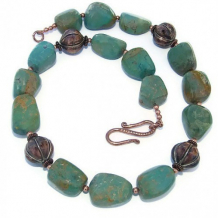 SKY STONES - Chunky Turquoise Necklace, Copper Handmade Gemstones Beaded Summer