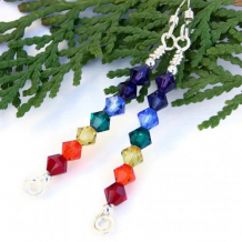 ARC EN CIEL - Swarovski Rainbow Chakra Earrings Handmade Spirals Jewelry Balancing