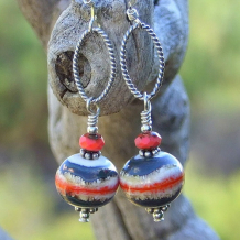 SOUTHWEST DAZE - Handmade Southwest Lampwork Earrings, Blue Coral Ivory Beaded Jewelry
