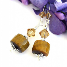 GOLDEN SUNSHINE - Golden Tigers Eye Gemstone Earrings Handmade Jewelry Swarovski Crystals