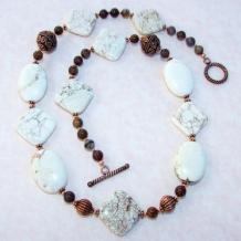 EARTH ELEMENTS - White Magnesite Pietersite Copper Necklace, Handmade