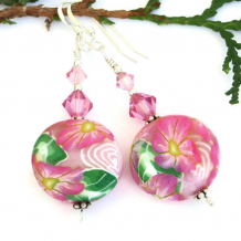 SPRING BEAUTY - Pink Flower Artisan Earrings, Handmade Polymer Clay Swarovski Jewelry