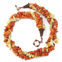 SUN KISSED - Multistrand Twisted Necklace, Apple Coral Yellow Jade Handmade Beach Jewelry