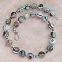 WHEN BEAUTY CALLS - Banded Eye Agate Pyrite Sterling Necklace, Handmade