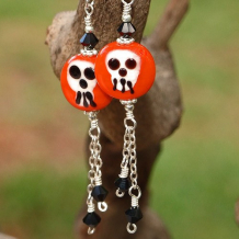 BONES - Halloween Lampwork Skull Earrings, Handmade Orange Jewelry