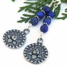 ENLIGHTENMENT - Pewter Lotus Om Earrings Handmade Blue Lapis Unique Yoga Jewelry