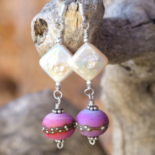 A TASTE OF SPRING - Purple Lampwork Diamond Pearls Earrings, Handmade Lavender Jewelry