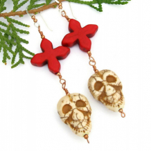 SCARY! - Skulls Crosses Handmade Earrings, Day of the Dead Ivory Red Magnesite