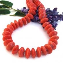 """""""Washed Ashore"""" - Fiesta Orange Coral Handmade Necklace, Elegant Artisan Gemstone Boho Chunky Jewelry"""