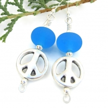 """All We Are Saying"" - Pewter Peace Sign and Aqua Blue Lampwork Earrings, Handmade  Beaded Jewelry"