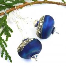 ALPHA CENTAURI - Alpha Centauri Lampwork Earrings, Handmade Blue Silver Star Earrings