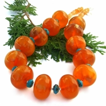 AMBER SUNSHINE - Chunky Amber Copal and Turquoise Statement Necklace, Handmade Jewelry