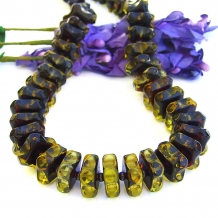 """Amber Waves"" - Handmade Amber Necklace, Gunmetal Bronze, Sterling, Elegant Artisan Gemstone Jewelry"