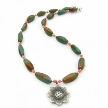 FIRST FLOWER OF THE MOJAVE - American Vintage Turquoise Handmade Necklace Thai Coral Jewelry