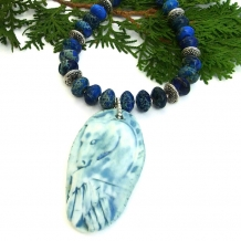 """Angel Horse"" - Angel Horse Pendant Necklace, Blue Jasper Gemstone Artisan Handmade Jewelry"