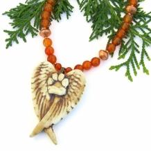 """Angels on Earth"" - Dog Angel Handmade Necklace, Paw Print Wings Carnelian Gemstone Pet Jewelry"