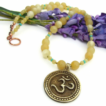 AUM - Om Aum Yoga Necklace, Brass Yellow Aragonite Gemstone Handmade Jewelry