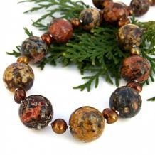 EARTH DANCER - Chunky Gemstone Necklace, Leopardskin Jasper Pearls Jewelry