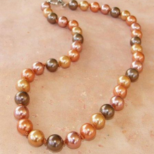 DAWN'S FIRST LIGHT - Hand-knotted 10mm Shell Pearl Sterling Handmade Necklace